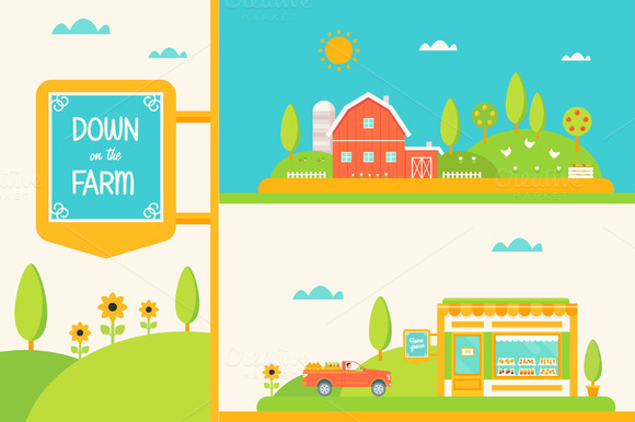 Down On The Farm Vector Set