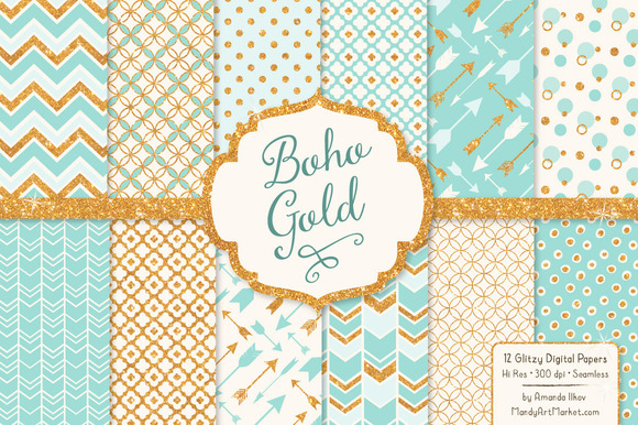 Aqua Bohemian Glitter Digital Papers