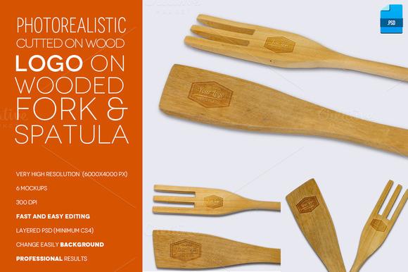 Logo On Wooden Fork Spatula Mockup