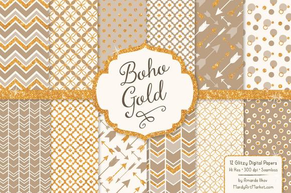Champagne Bohemian Glitter Patterns