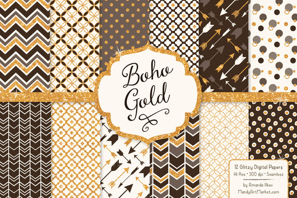 Chocolate Bohemian Glitter Patterns