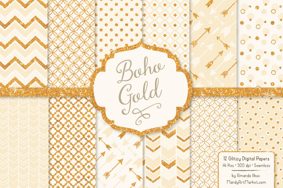 Cream Glitter Bohemian Patterns