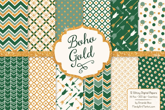 Emerald Green Glitter Digital Papers