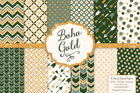 Forest Green Glitter Digital Papers