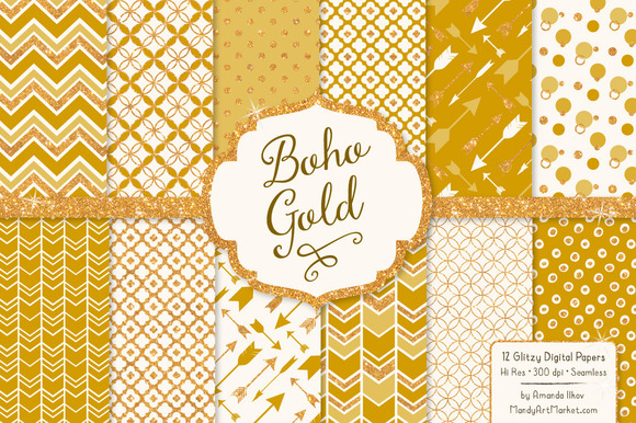 Mustard Glitter Bohemian Patterns