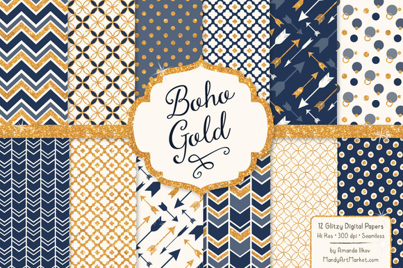 Navy Gold Glitter Patterns
