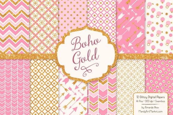 Pink Glitter Bohemian Digital Papers