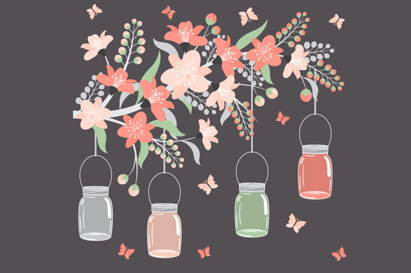 Pastel Floral Branch With Jars