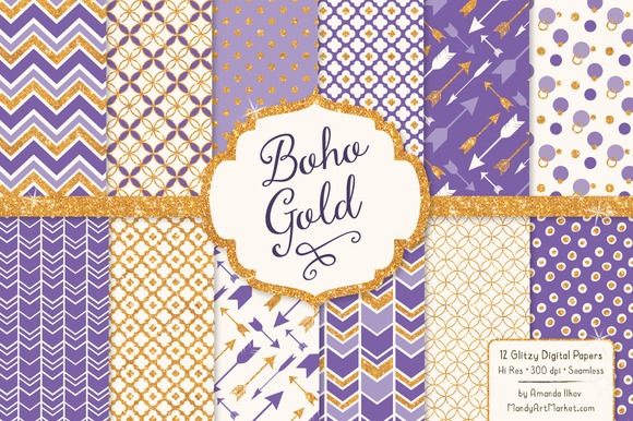 Purple Glitter Bohemian Patterns