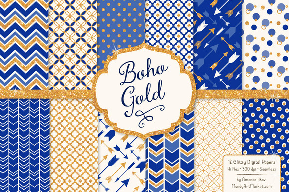 Royal Blue Gold Glitter Patterns
