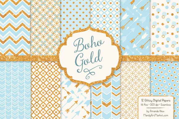 Soft Blue Bohemian Glitter Patterns