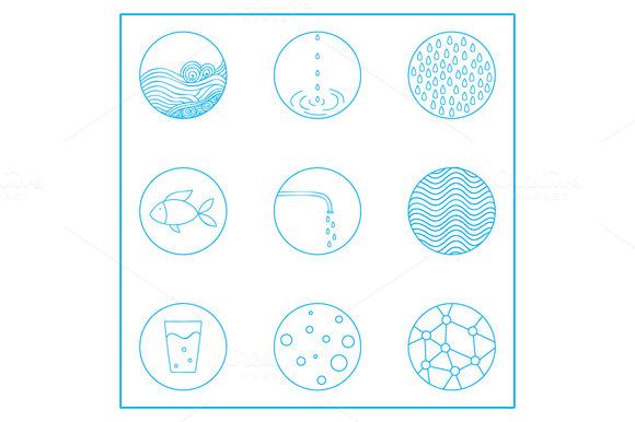 Vector Water Set Logos Background