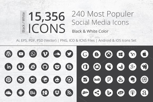 240 Round B W Social Media Icons