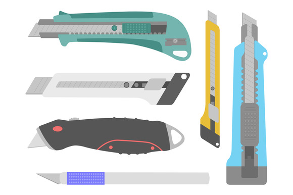 Set Of Vector Stationery Knives