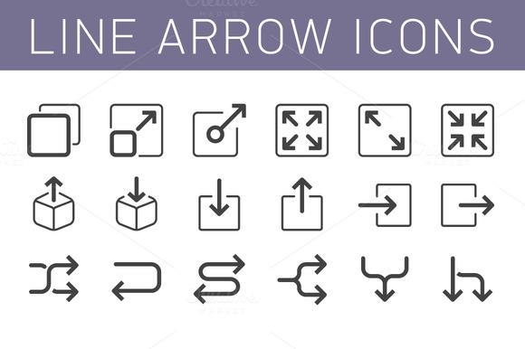 Line Arrow Icon Set