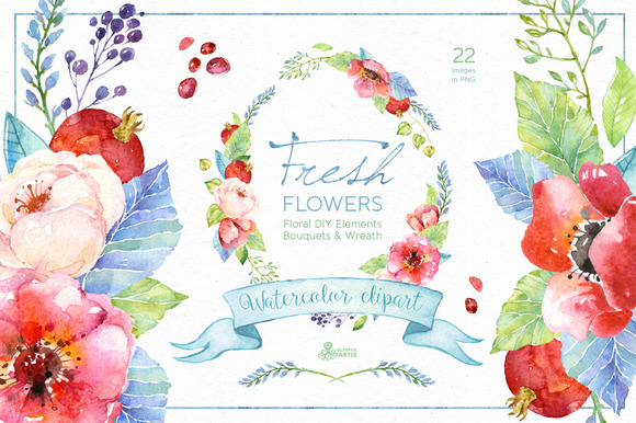 Fresh Flowers Watercolor Pack
