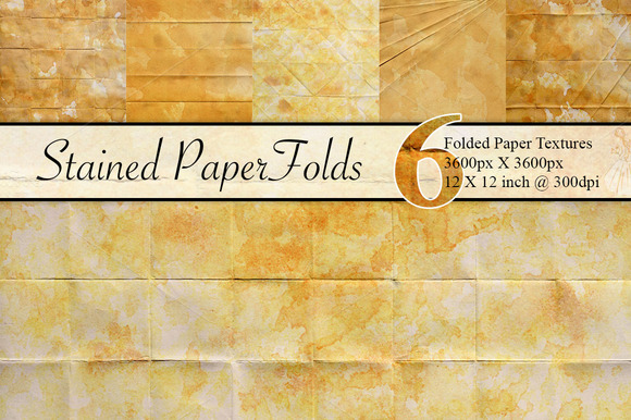 6 Stained Folded Paper Textures