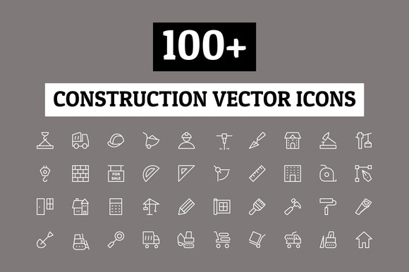 100 Construction Vector Icons
