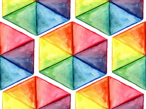 Vector Watercolor Geometric Seamles