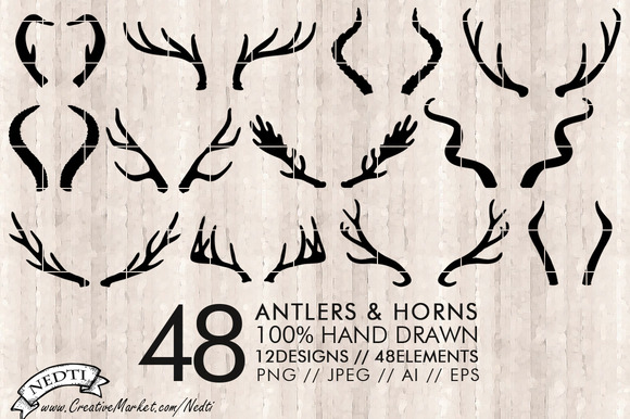 Antlers And Horns Vector PNG-AI-EPS