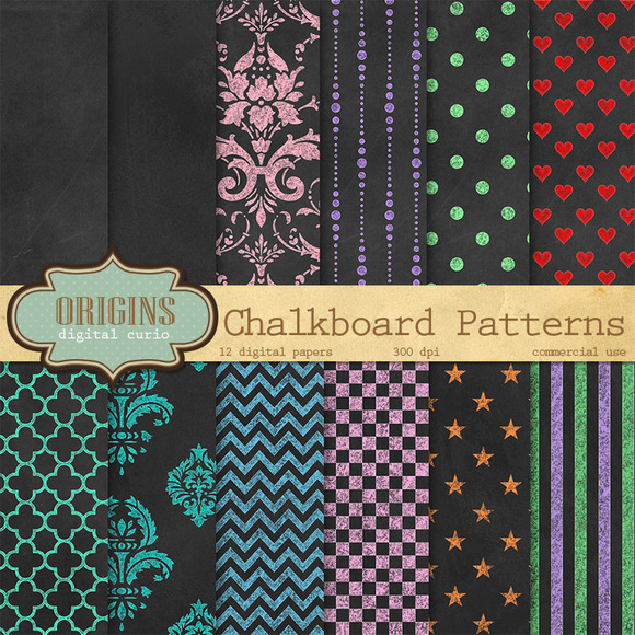 Chalkboard Patterns Digital Paper