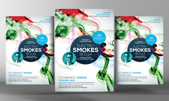 Electro Smoke Party Flyer Template
