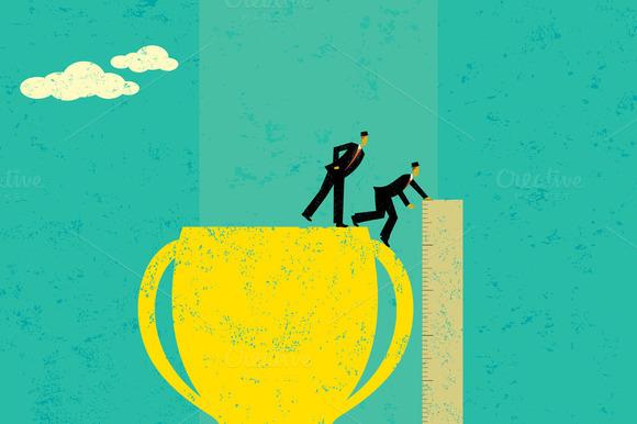 Businessmen Measuring Success