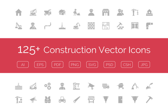 125 Construction Vector Icons
