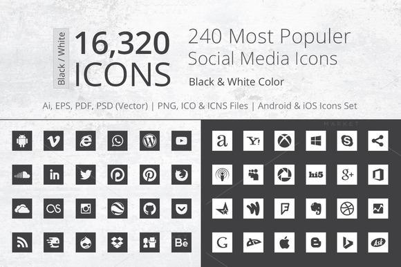 240 Square B W Social Media Icons