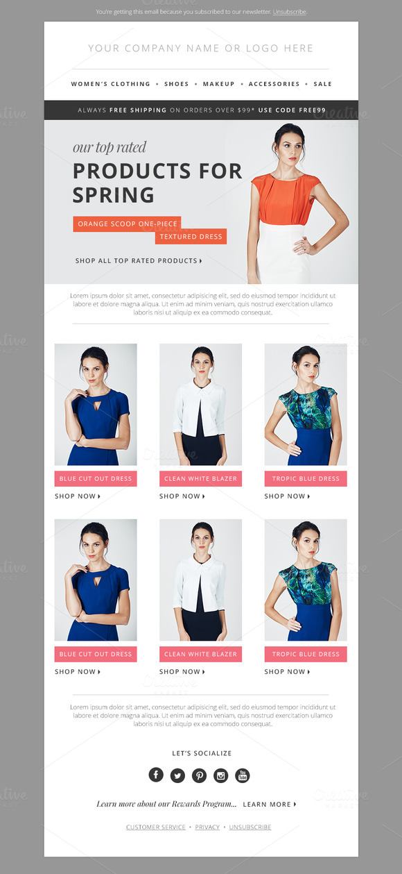 Fashion E-mail Newsletter Blast PSD
