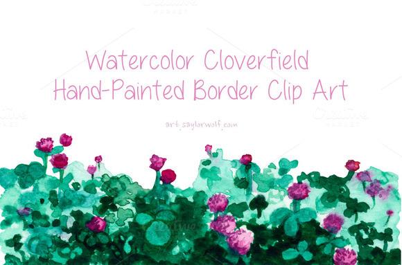 Watercolor Clover Field Border