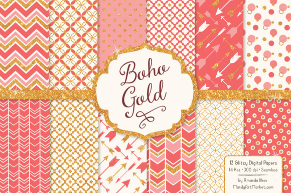Coral Bohemian Glitter Patterns
