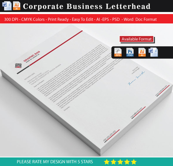 Corporate Business Letterhead Word