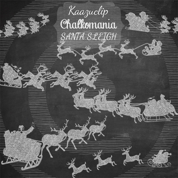 Chalk Santa Sleighs