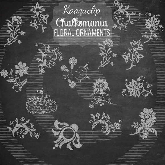 Chalk Floral Ornaments