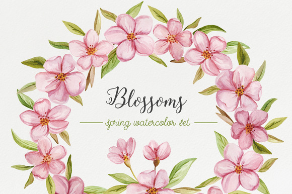 Blossoms Spring Watercolor Set