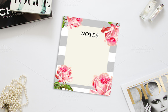 Gray Floral And Stripes Notes