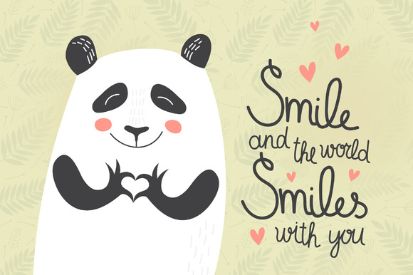 Cute Panda On Seamless Background