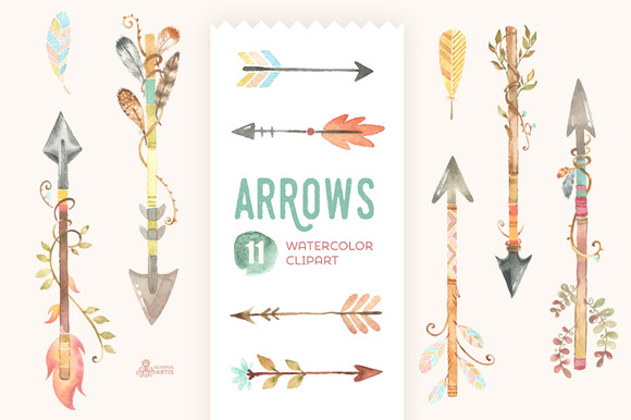 Arrows Watercolor Clipart