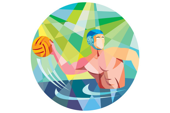 Water Polo Player Throw Ball Circle