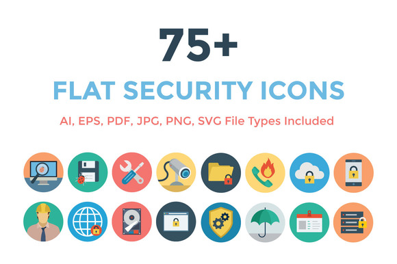 75 Flat Security Icons