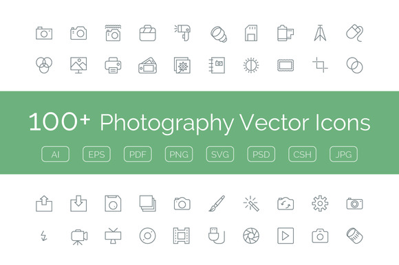 100 Photography Vector Icons