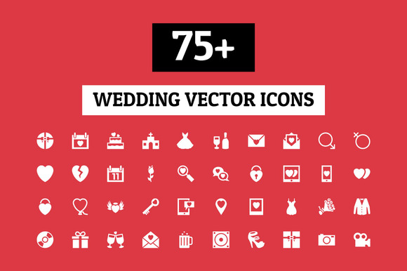 75 Wedding Vector Icons