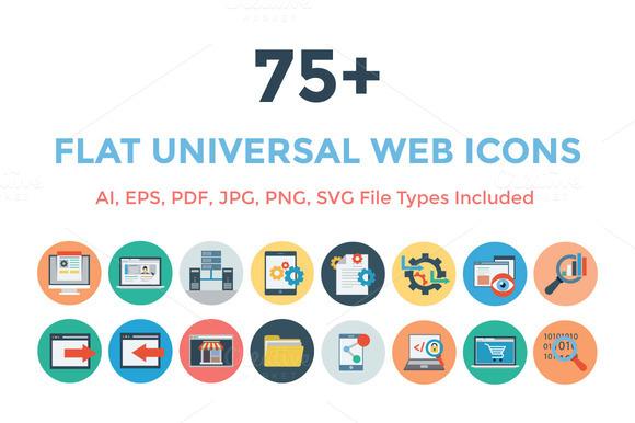 75 Flat Universal Web Icons