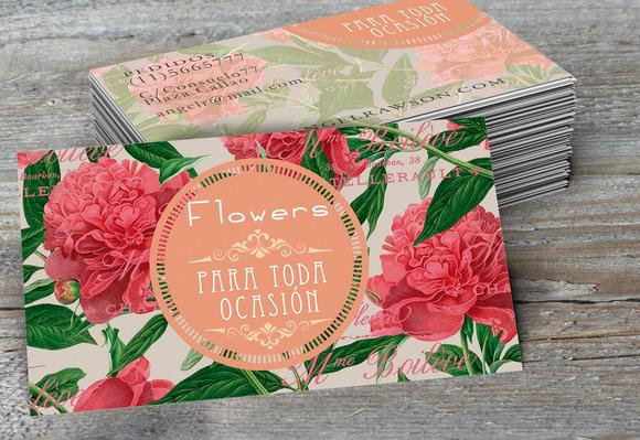 Peonies Flowers Business Card