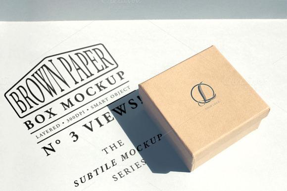 Brown Paper Box Mockup