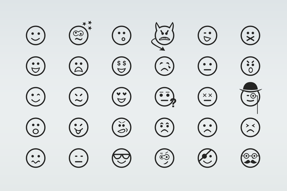 30 Smiley Line Icons