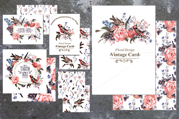 Roses And Birds Floral Card Set