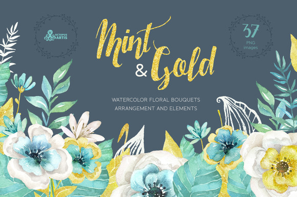 Mint Gold Flowers