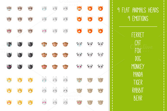 Zoo Mega Set 9x9 Animal Emoticons